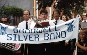 Bradwell Silver Band, in a parade.