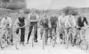 Eight members of the Corner Pin Eagles Cycle Speedway Club.