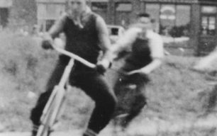 Rowland Cook & Jeff Hamilton cycle speedway racing.