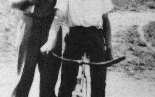 Mr E.P. Hiorns with John Palmer of the Corner Pin Eagles Cycle Speedway Club.