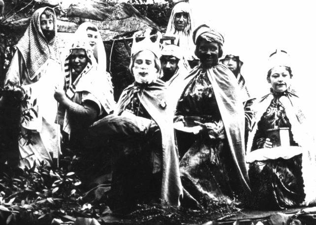 Group dressed for nativity scene