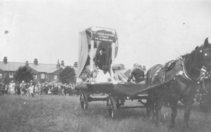 """Wolverton Carnival - a horse-drawn cart titled """"The League of Nations Attacks the Octopus of Vice"""""""