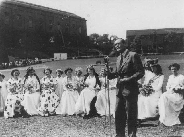 Local carnival queens in Wolverton Park in the 1951 Festival of Britain
