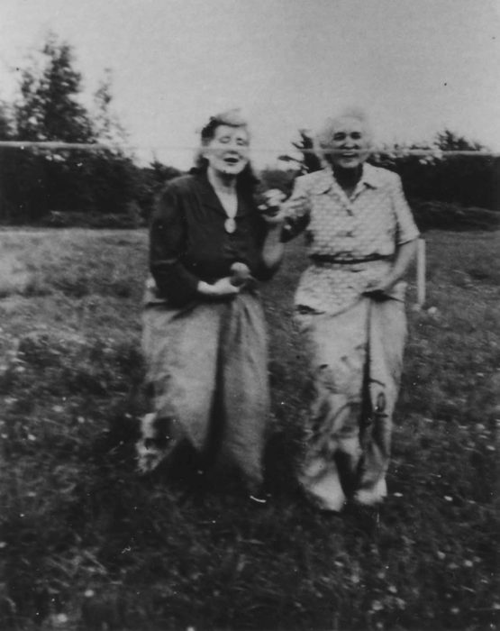 1953 Coronation. Mrs Vye and Mrs Blunt romping home in the sack race