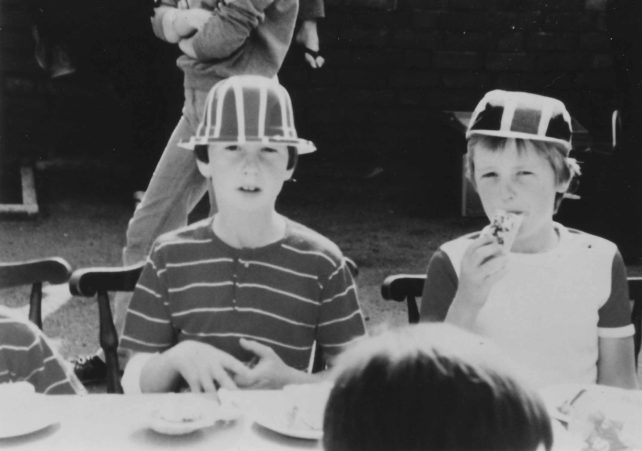Two children at the party in Wood Street to celebrate the Royal wedding of July 1981