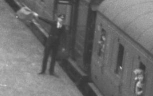 Guard waves off the Last Train at Bradwell Station, 5-Sep-1964