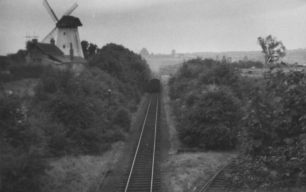 The Last Train at New Bradwell, going past the windmill, 5-Sep-1964