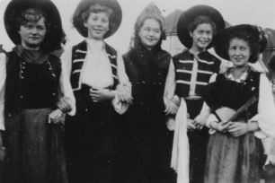 Pauline Baines, Sylvia Hood, Gillian Pickering, June Axtell and Ann Overton in fancy dress, in c1950
