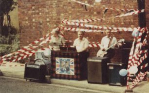 Musicians at Prince Charles & Lady Diana wedding street party, 1981