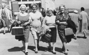 Ivy Leaf Club visit to seaside. Mrs Massey, Kathleen Berrige, Mrs Clark, Ruth Bramley.
