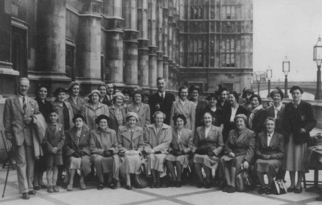 Group of 30 adults outside the Houses of Parliament.