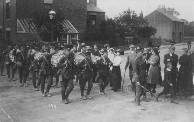 Photograph of a parade of military drummers in New Bradwell