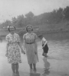 1938 In bay in Aunt Mary's. Evelyn Barley, Lena Cook.