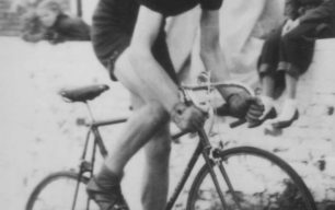 Cycle racer Albert French winning the Invicta Road Club hill climb, Oct 1953