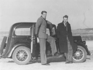 Albert French and John Toogood by a car.