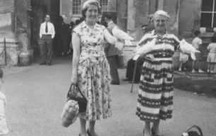Ivy Leaf Club visit to Hampton Court. Kathleen Berridge and Mrs Massey, with white doves.