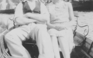 Joe and Agnes Scrags in a rowing boat.