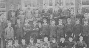Newspaper picture of boys school group.