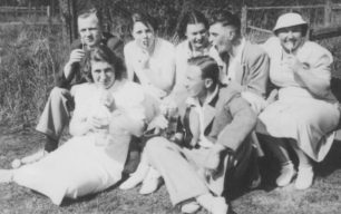 Jack Soddy, Hazel Brown, Mavis Becket, Cliff Parker, Louie Seabrook, Peggy Carrington, George Seabrook. Sitting in a field.