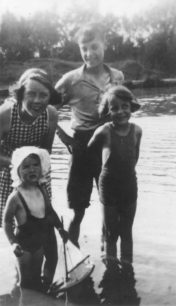Enid Bubb, Ken Bartholemew, Molly Squires, Janet Squires at Aunt Mary's. 1938.