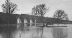 The railway viaduct, New Bradwell Floods, 1939.