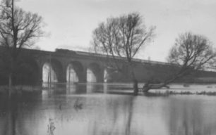 The railway viaduct, New Bradwell Floods, 1939.