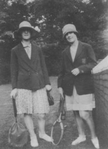 Doris and Eileen about to play tennis on West View Courts