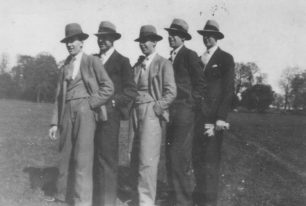 5 smartly dressed men in the recreation ground in 1930: Bill Dearn, Reg Turvey, Bill Hood, Henry Hood and Arthur Huckle