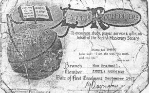 Baptist Missionary Society (League of Ropeholders) membership certificate of Sheila Berridge, dated September 1947