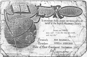 Baptist Missionary Society (League of Ropeholders) membership certificate of Sheila Berridge, dated September 1947