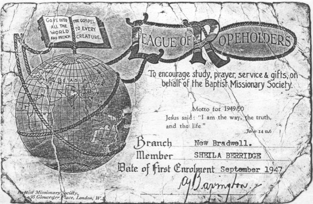 Baptist Missionary Society (League of Ropeholders) membership certificate of Sheila Berridge