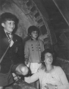 The Allen-Rowlandson family being shown round New Bradwell Windmill in 1960