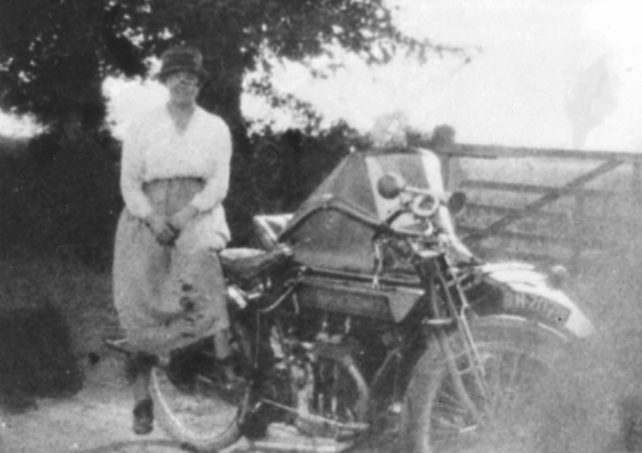 Mrs Lou Casebrook with her husband's motor bike