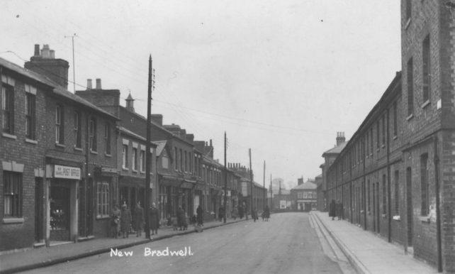Postcard of New Bradwell High Street sent 21st July 1953.