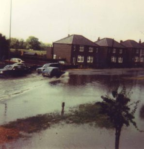 Newport Road flooded. July 1979.