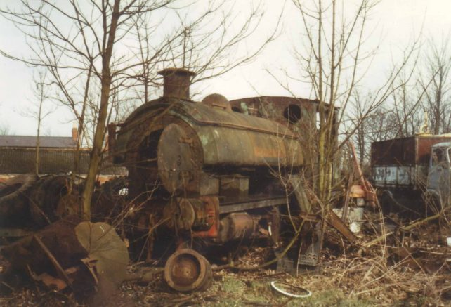 Goodmans Scrapyard with derelict saddle tank steam locomotive