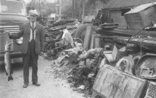 John Goodman in Goodmans Yard with a pike.