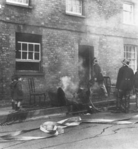 Fire in one of the railway houses.