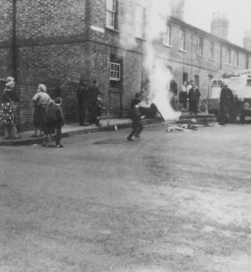 A fire in one of the railway houses.