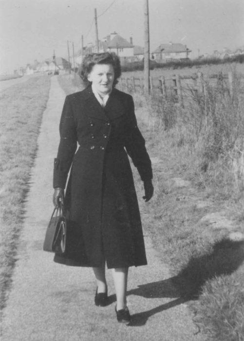 Mrs Olwen Crisp walking along Half Mile Hill.