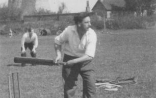 New Bradwell Cricket Club player Les Cosby, early 1950s