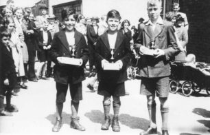 1939 25th Annual Hospital Fete, New Bradwell. Cross country winners George Stephenson, Frank Stephenson and Lionel Exley
