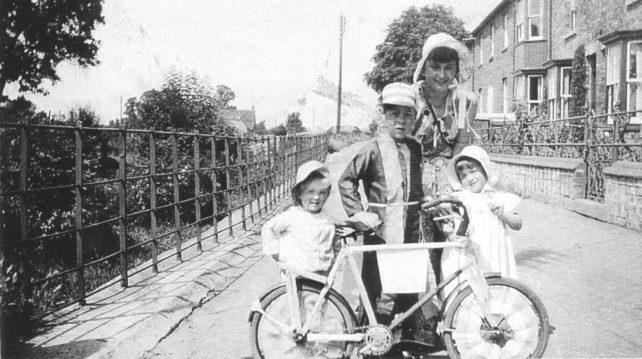Children in fancy dress in Old Bradwell near the Moat House