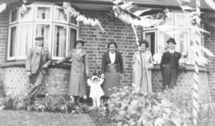 Mr & Mrs Markham, Joy Walker, Mrs Goodger and her parents Mr & Mrs Walker in Old Bradwell in 1937