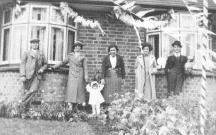 Mr & Mrs Markham, Joy Walker, Mrs Goodger and her parents Mr & Mrs Walker in Old Bradwell in 1937