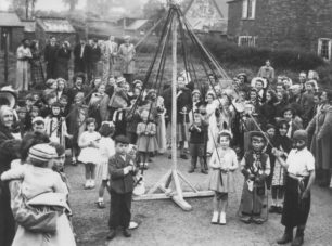 Merry Comrades dancing round maypole in 1952.