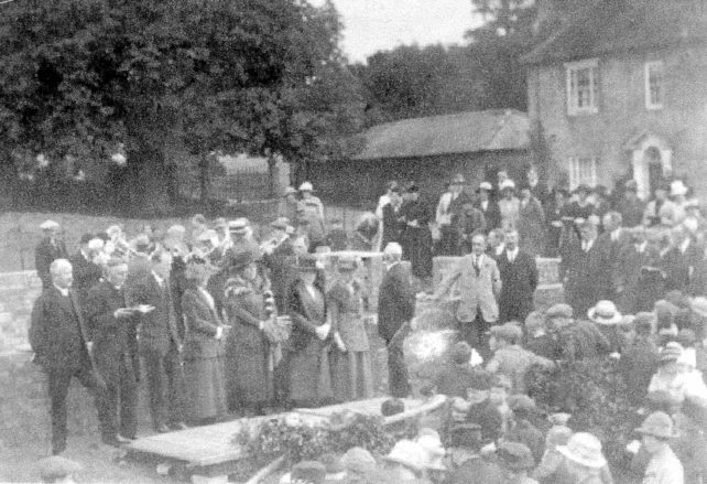 Laying the foundation stone of the Memorial Hall