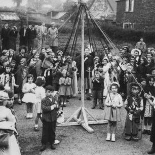 Merry Comrades dancing round maypole in 1952.