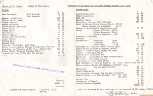 St James Church Accounts for 1973