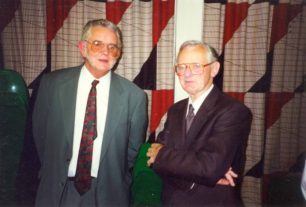 Bruce Abbott and David Bradshaw at Daphne's retirement party